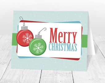 Holiday Cards - Retro Bulbs Merry Christmas - Printed Christmas Cards