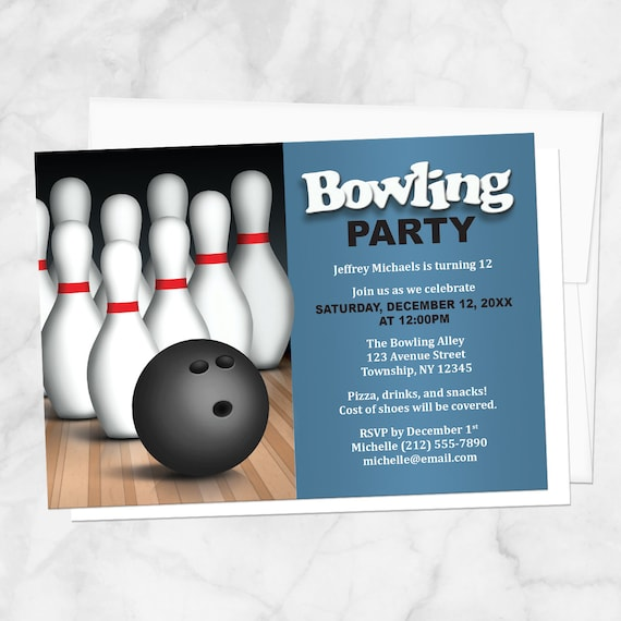 Bowling Birthday Party Invitations Boy Or Girl