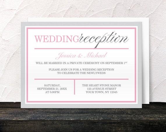 Gray Pink Reception Only Invitations Modern Design Post Wedding