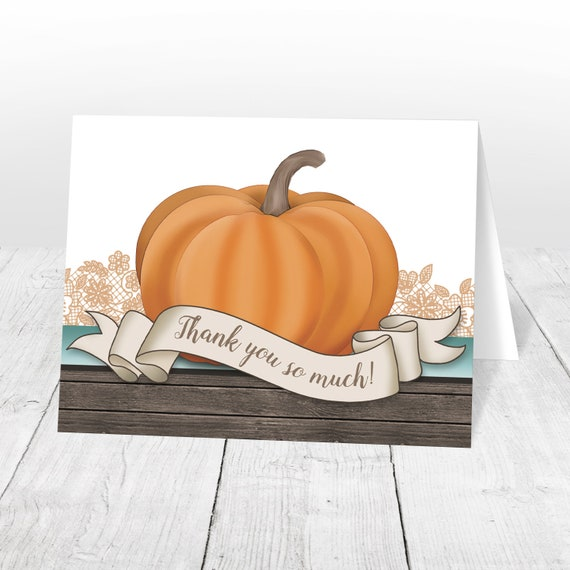 Pumpkin Thank You Cards Autumn Rustic Wood Orange Teal And Etsy