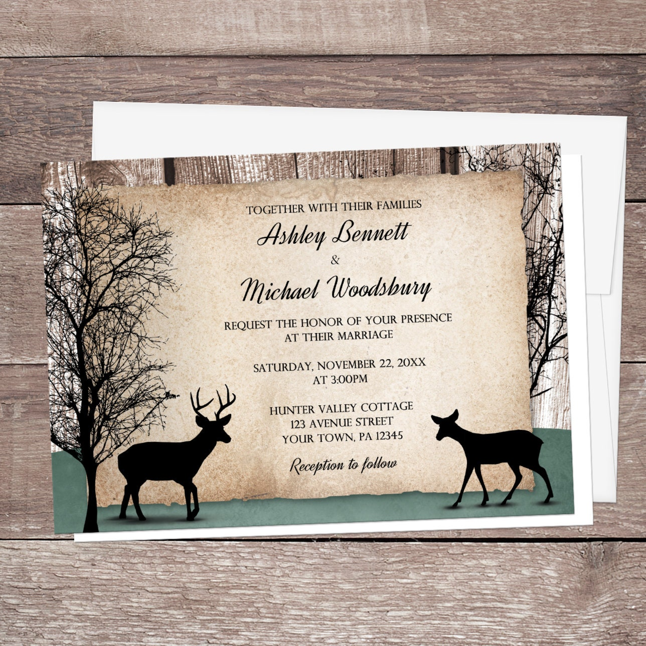Rustic Woodsy Wedding Ideas: Rustic Woodsy Deer Wedding Invitations Winter Trees And