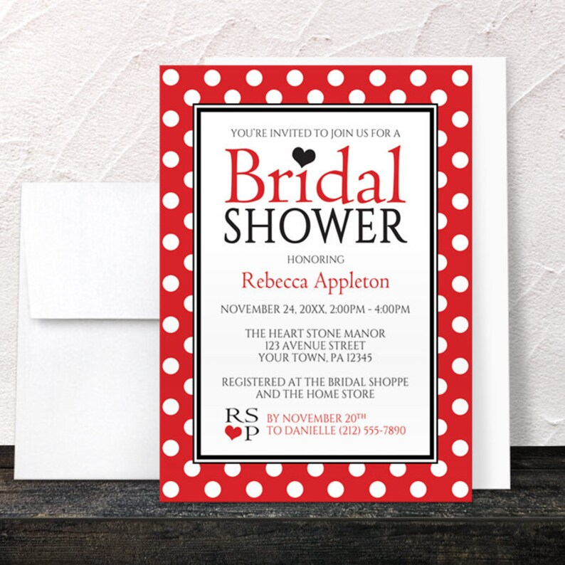4390bce6099 Red Polka Dot Bridal Shower Invitations Black White and Red