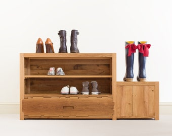Shoe Rack - Solid Oak - Entryway Furniture - Entryway Bench - Shoe Organiser - Shoe Storage - Shoe Box - Geometric - Hallway Furniture