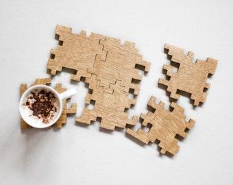Oak Puzzle Coasters - Drink Coasters - Geometric - Interlocking Puzzle - Wooden Coasters - Modern - Wood Puzzle - Drink Mats