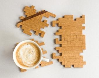 Wooden Coasters - Puzzle Coasters - Solid Oak and Walnut - Interlocking Puzzle - Geometric - Jigsaw - Wood Puzzle - Home Decor - Set of 4