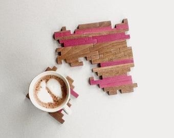 Wooden Coasters - Interlocking Puzzle Coasters - Geometric - Unique - Housewarming Gift - Modern - Wood Puzzle - Home Decor - Set of 4
