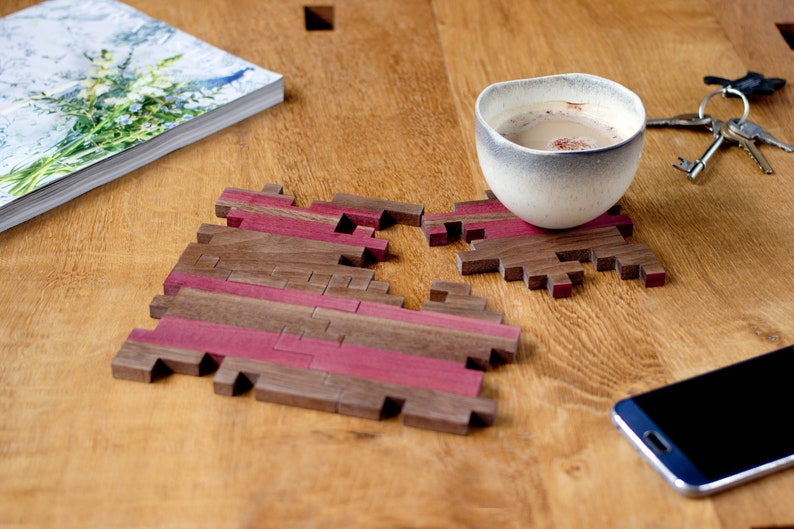 Wooden Coasters  Puzzle Coasters  Drink Coaster  Geometric image 0