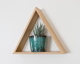 Oak Triangle Shelf - Floating Shelf - Wall Shelf - Shelves - Geometric - Display Shelf - Oak Shelf - Wooden Shelf - Plant Shelf - Gem Shelf