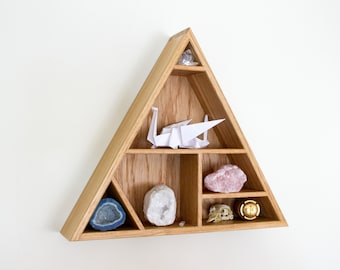 Floating Oak Shelf - Triangle Shelf - Geometric Shelf - Trinkets - Keepsakes - Curiosity Cabinet - Display Shelves - Wooden Shelf