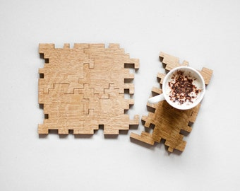 Modern Puzzle Coasters - Interlocking Puzzle - Geometric - Solid Oak - Wood Puzzle - Jigsaw - Drink Mats - Home Decor