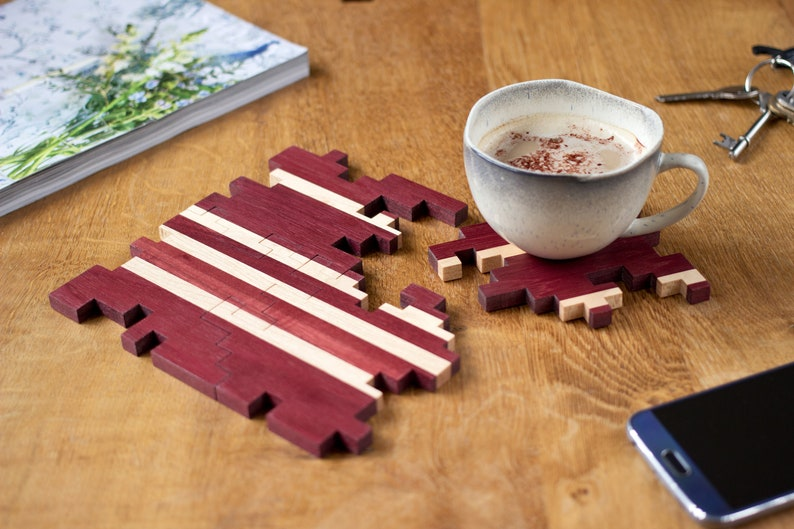 Wooden Drink Coasters  Geometric Puzzle Coasters  Wooden image 0