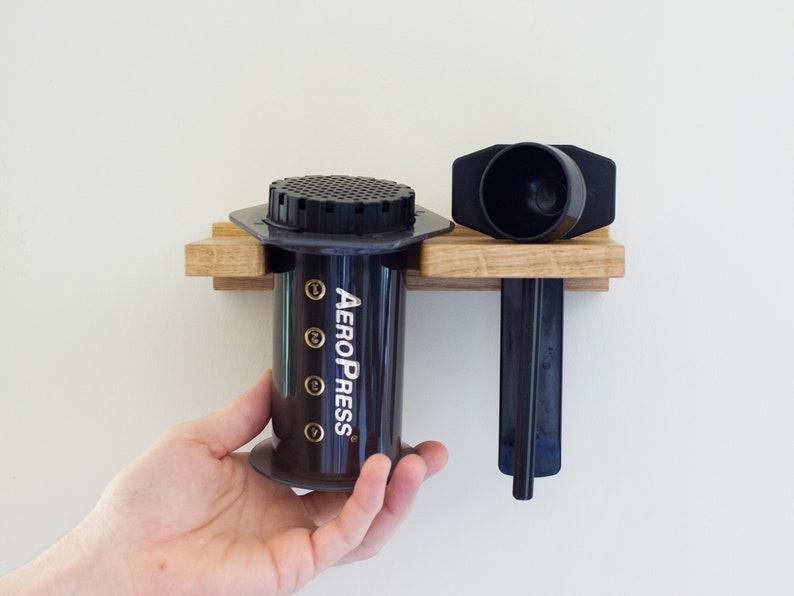 Aeropress Organiser  Wall Bracket  Solid Oak  Coffee Maker image 0