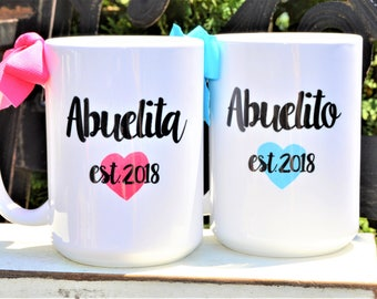 New SPANISH ABUELITA, ABUELITO, Abuela, or Abuelo Mugs, Est. Year, Cute Pregnancy Announcement