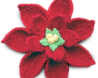 Poinsettia Knitting Pattern. Instant Download PDF. Christmas home decoration. holiday flower knitting pattern.  handmade handknit poinsettia
