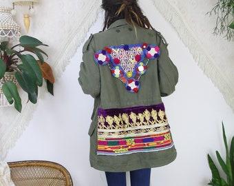 Bohemian patched Army Coat, Vintage Military parker Kuchi beadwork patchwork, Boho Festival Khaki Tribal OOAK