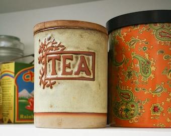 Vintage Keramik Tee Dose, Tremar UK Bauernhaus rustikale Keramik, 70er Jahre Steinzeug