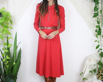 Vintage Jersey Dress, Long sleeve Red Midi Dress, XS Small Medium 4341