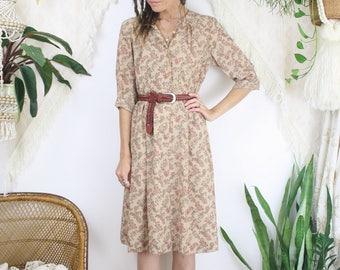 Paisley Japanese Vintage Long Sleeve Midi Dress, Small 4175