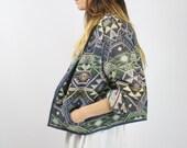 Vintage NAVAJO JACKET, Southwestern Ikat Pattern Coat Cotton knit Oversize Boxy jacket 90s Winter jacket Cropped Ethnic coat, Medium Large