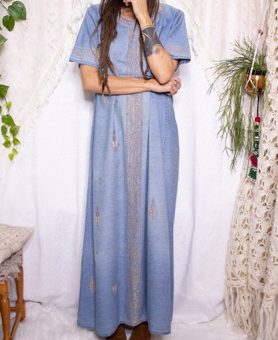 Embroidered denim vintage maxi dress, 70s bohemian