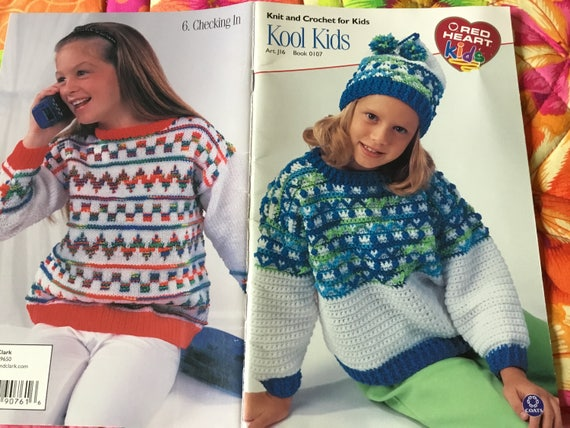 Red Heart Kool Kids Knitting Crochet Patterns Only Etsy