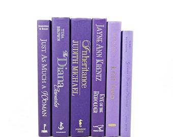 Purple Lavender Books,  Decorative Books, Wedding Centerpiece, Antique Book Collection, Old Book Decor,  Book Set, Violelt ORchid
