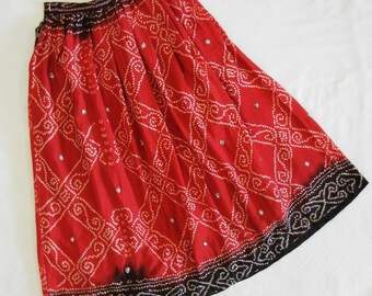 460a1eb882971b Red & Black Bandhani Skirt, Red Bandhani Chaniya, Red silk skirt,Red ethnic  skirt, A line maxi skirt, Belly dancing skirt, long skirt