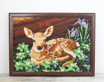 Needlepoint Tapestry Wall Hanging Baby Deer Spotted Fawn Vintage Needlepoint Fiber Art Wood Frame Woodland Decor Cabin Decor