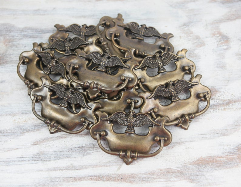 Drawer Pulls Cabinet Handles Brass Hardware Colonial Decor American Eagle Americana Decor Vintage Hardware Early American Knobs and pulls