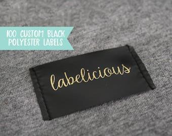 Qty 100 - Custom black polyester clothing label - Custom Garment label - Printed clothing labels - Custom brand label -Custom logo label