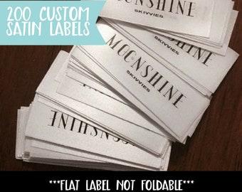 Qty 200 - Custom satin label sewn flat- Custom Garment label - Printed labels - Custom brand label - Custom logo label - Clothing labels