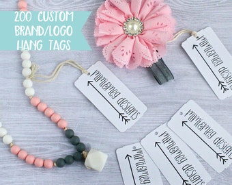Qty 200 - Custom Brand/Logo Hang Tags - Personalized Hang Tags - Custom Clothing Tags - Perforated Hang Tags - Custom Swing Tags