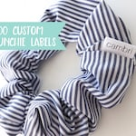 Qty 200 - Custom fold over Scrunchie label - Scrunchie tag - Scrunchie label - Custom Scrunchie label - Small brand label - Clothing labels