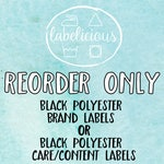 Qty 100 - RE-ORDER only - Black polyester brand or care/content labels
