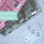 Qty 200 - Custom hem label - Fold over satin tag - Custom logo labels - Custom brand label - Clothing labels  - Clothing labels