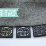 Qty 100 - Custom black fold over polyester label - Fold over label - Custom logo labels - Custom brand label - Clothing labels