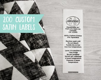 Qty 200 - White satin label - CPSIA compliant label - washing instructions - care instructions - bilingual content label - Clothing labels