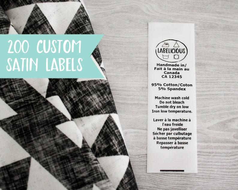 Qty 200  White satin label  custom clothing label  washing image 0