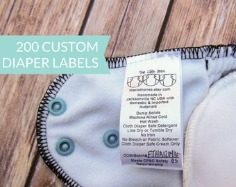 Qty 200 - White satin diaper label - Custom Nappy label - Washing instructions - Care instructions -  CPSIA compliant - Clothing labels