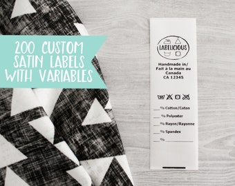 Qty 200 - White satin label w/ variables- CPSIA compliant label - Washing instructions- Care instructions- bilingual label- Clothing labels