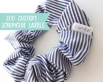 Qty 200 - SEWN INTO LABEL - Custom fold over Scrunchie label - Scrunchie label - Custom Scrunchie label - Small brand label