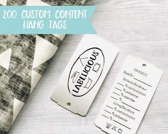 """Qty 200 - Custom Content Hang Tags - Personalized Hang Tags - Custom Clothing Tags - Perforated Hang Tags - Swing Tags - 1 3/8"""" x 2 3/4"""""""