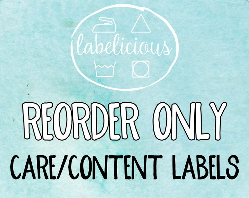 Qty 200  RE-ORDER ONLY  Care/Content Labels image 0