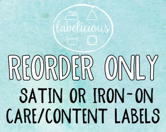 Qty 200 - RE-ORDER ONLY - Satin or Iron-On Care/Content Labels