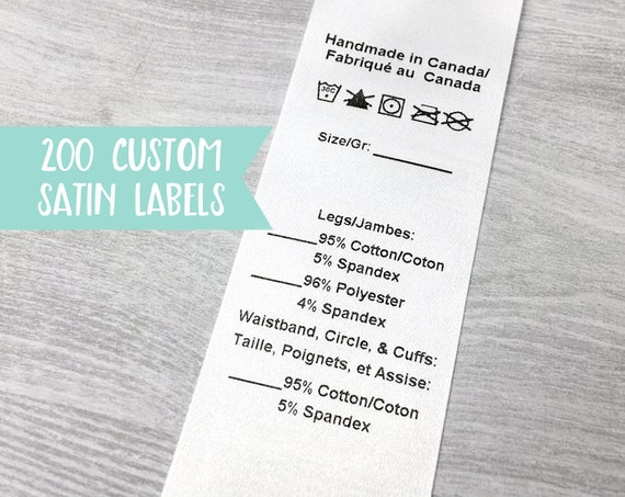 Qty 200 White Satin Label With Variables Custom Clothing Etsy