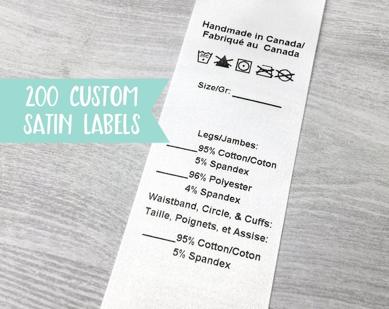 Qty 200  White satin label w/ variables Custom clothing image 0