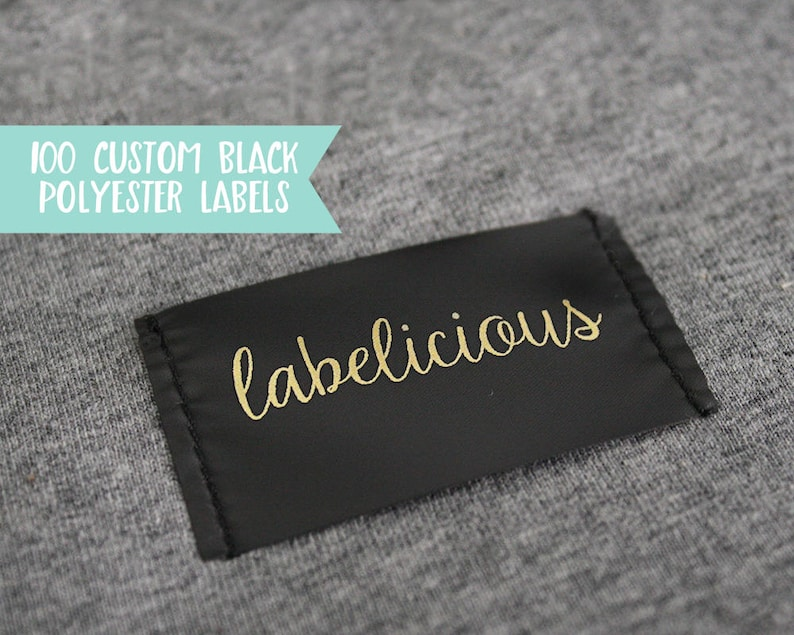 Qty 100  Custom black polyester clothing label  Custom image 0