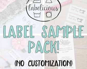 Label sampler pack - Label sample pack - Branding sample pack - satin label sample pack - Label samples - Tag samples