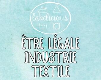 Qty 200 - Être Légale Industrie Textile– étiquette de soins et de contenu