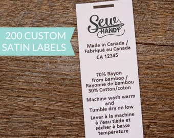 Qty 200 - White satin label - custom clothing label - washing instructions - care instructions - bilingual content label